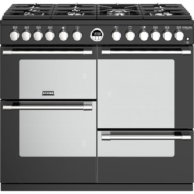 Stoves Sterling Deluxe S1000DF Dual Fuel Range Cooker - Black - Sterling Deluxe S1000DF_BK - 1