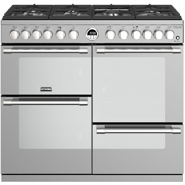 Stoves Sterling Deluxe S1000DF 100cm Dual Fuel Range Cooker - Stainless Steel - A/A/A Rated - Sterling Deluxe S1000DF_SS - 1