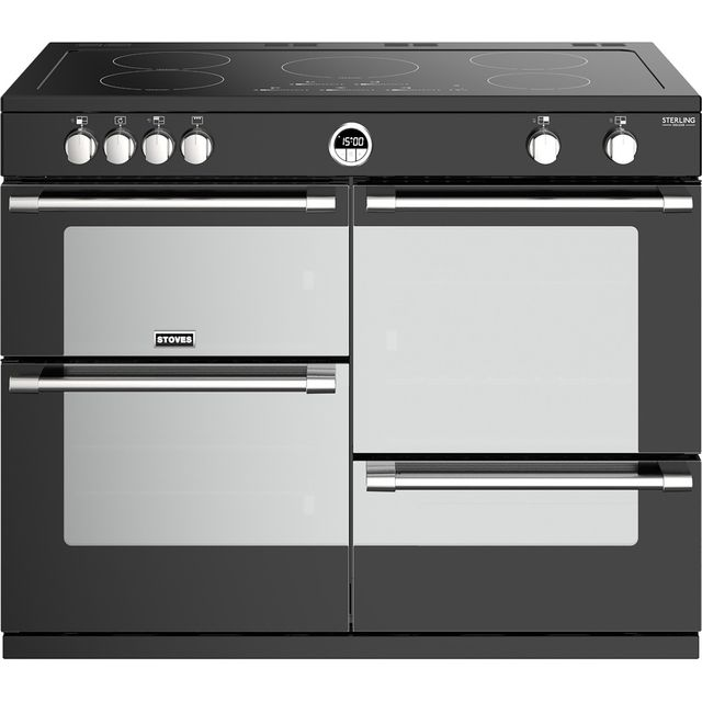 Stoves Sterling Deluxe S1000EI 100cm Electric Range Cooker with Induction Hob - Black - A/A/A Rated