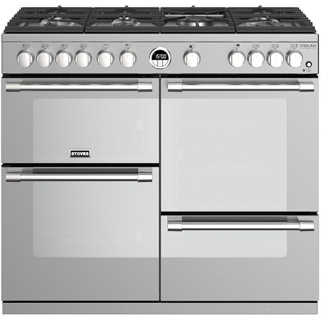 Stoves Sterling Deluxe S1000G 100cm Gas Range Cooker with Electric Grill - Stainless Steel - A+/A/A Rated - Sterling Deluxe S1000G_SS - 1