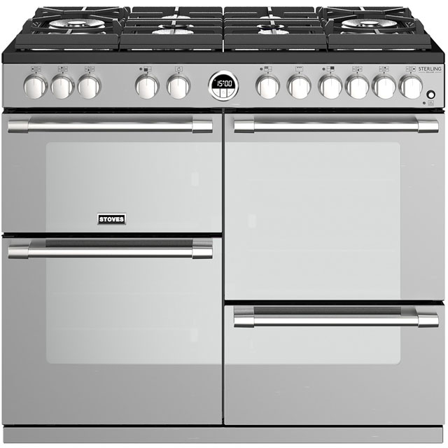 Stoves Sterling Deluxe S1000GTG 100cm Dual Fuel Range Cooker - Stainless Steel - A/A/A Rated - Sterling Deluxe S1000GTG_SS - 1