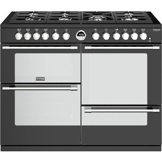 Stoves Sterling Deluxe S1100DF 110cm Dual Fuel Range Cooker - Black - A/A/A Rated - Sterling Deluxe S1100DF_BK - 1