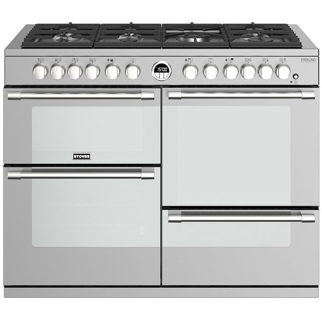 Stoves Sterling Deluxe S1100DF 110cm Dual Fuel Range Cooker - Stainless Steel - A/A/A Rated
