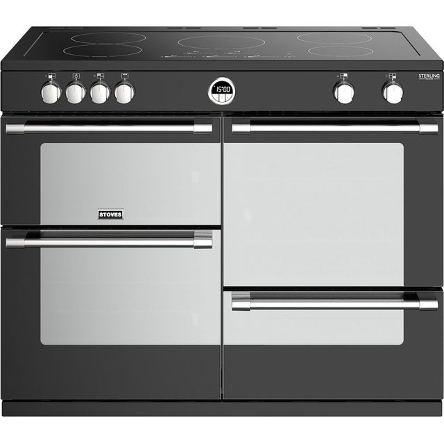 Stoves Sterling Deluxe S1100EI 110cm Electric Range Cooker with Induction Hob - Black - A/A/A Rated - Sterling Deluxe S1100EI_BK - 1