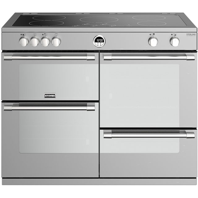 Stoves Sterling Deluxe S1100EI 110cm Electric Range Cooker with Induction Hob - Stainless Steel - A/A/A Rated