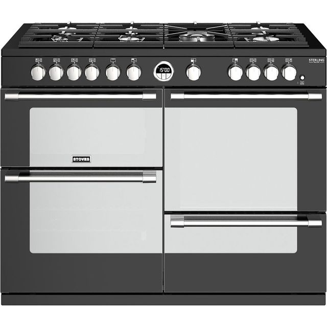 Stoves Sterling Deluxe S1100G 110cm Gas Range Cooker with Electric Grill - Black - A/A/A Rated - Sterling Deluxe S1100G_BK - 1