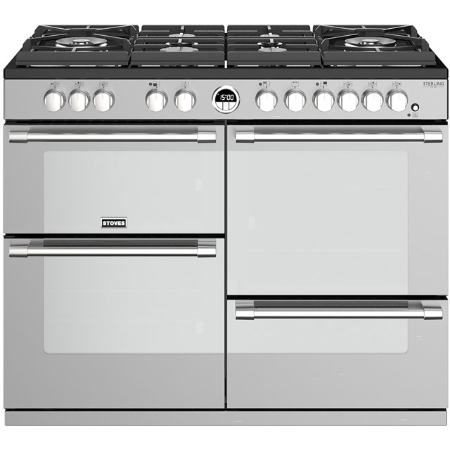 Stoves Sterling Deluxe S1100GTG 110cm Dual Fuel Range Cooker - Stainless Steel - A/A/A Rated