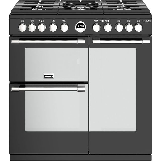 Stoves Sterling Deluxe S900DF 90cm Dual Fuel Range Cooker - Black - A/A/A Rated - Sterling Deluxe S900DF_BK - 1