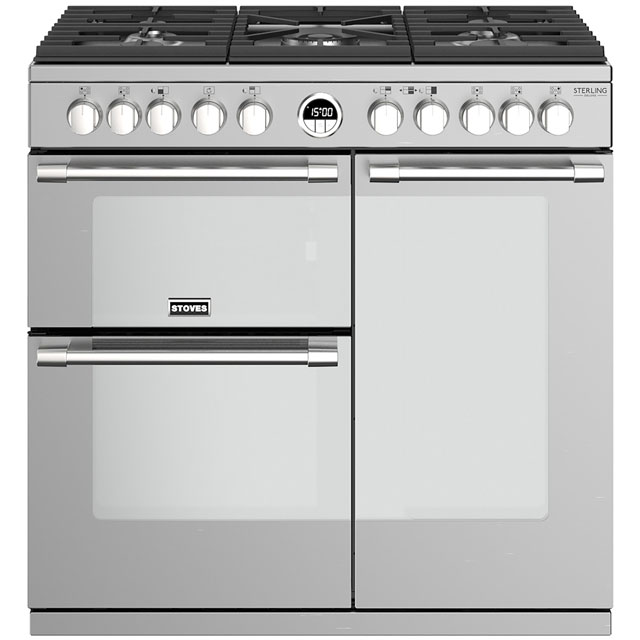 Stoves Sterling Deluxe S900DF 90cm Dual Fuel Range Cooker - Stainless Steel - A/A/A Rated - Sterling Deluxe S900DF_SS - 1