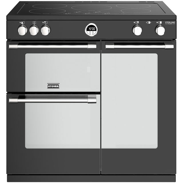Stoves Sterling Deluxe S900EI 90cm Electric Range Cooker with Induction Hob - Black - A/A/A Rated - Sterling Deluxe S900EI_BK - 1