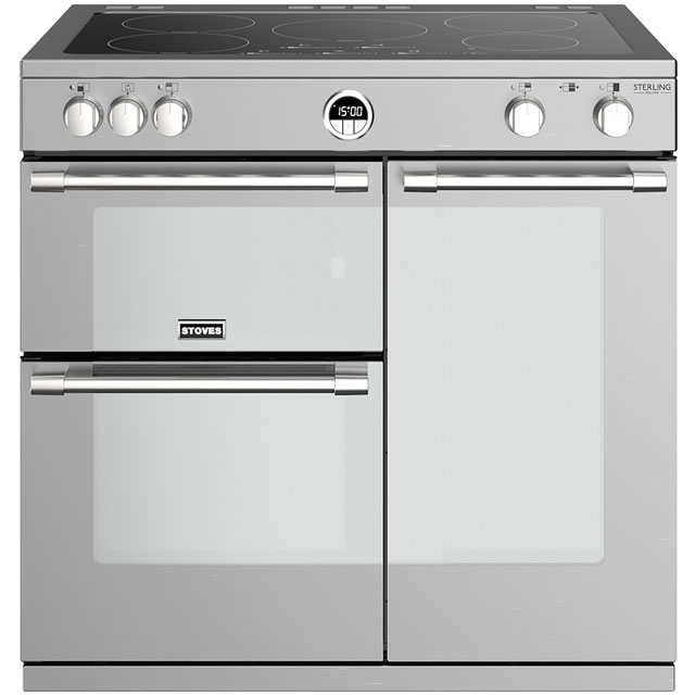 Stoves Sterling Deluxe S900EI 90cm Electric Range Cooker with Induction Hob - Stainless Steel - A/A/A Rated - Sterling Deluxe S900EI_SS - 1