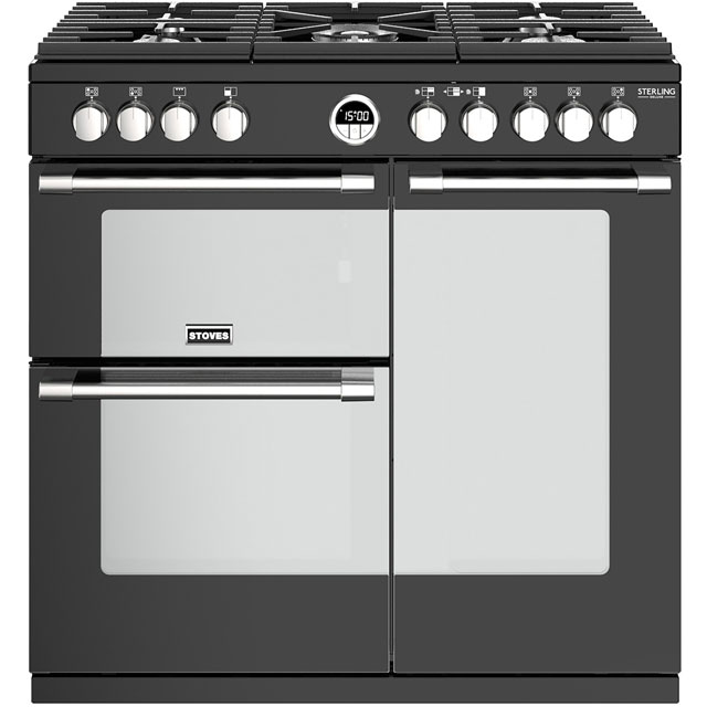 Stoves Sterling Deluxe S900G 90cm Gas Range Cooker - Black - A/A Rated - Sterling Deluxe S900G_BK - 1