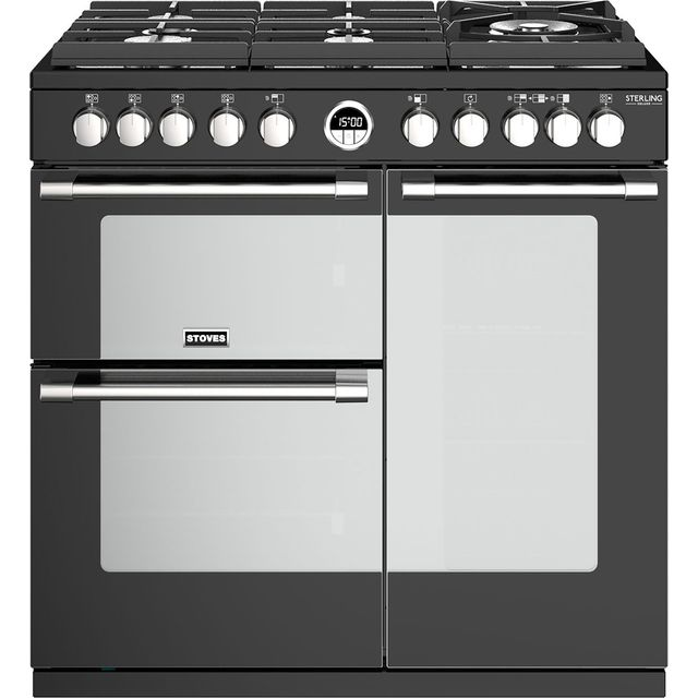 Stoves Sterling Deluxe S900GTG 90cm Dual Fuel Range Cooker - Black - A/A/A Rated - Sterling Deluxe S900GTG_BK - 1