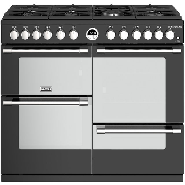 Stoves Sterling S1000DF 100cm Dual Fuel Range Cooker - Black - A/A/A Rated - Sterling S1000DF_BK - 1
