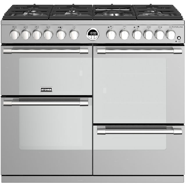 Stoves Sterling S1000DF 100cm Dual Fuel Range Cooker - Stainless Steel - A/A/A Rated - Sterling S1000DF_SS - 1
