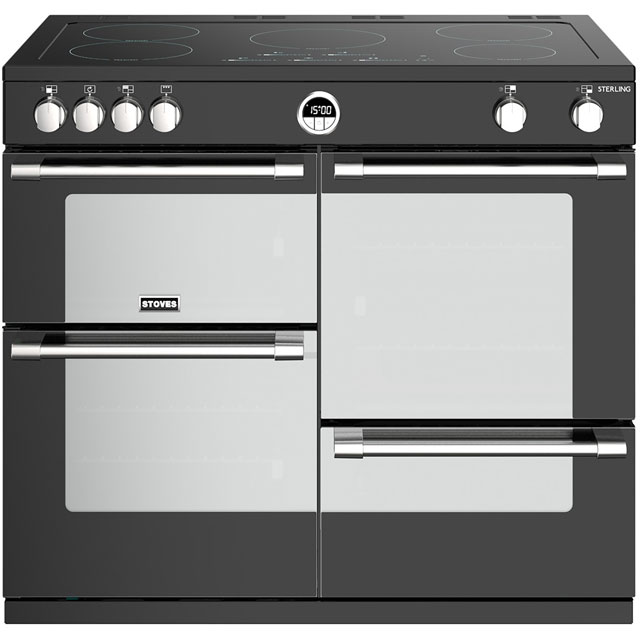 Stoves Sterling S1000EI 100cm Electric Range Cooker with Induction Hob - Black - A/A/A Rated - Sterling S1000EI_BK - 1