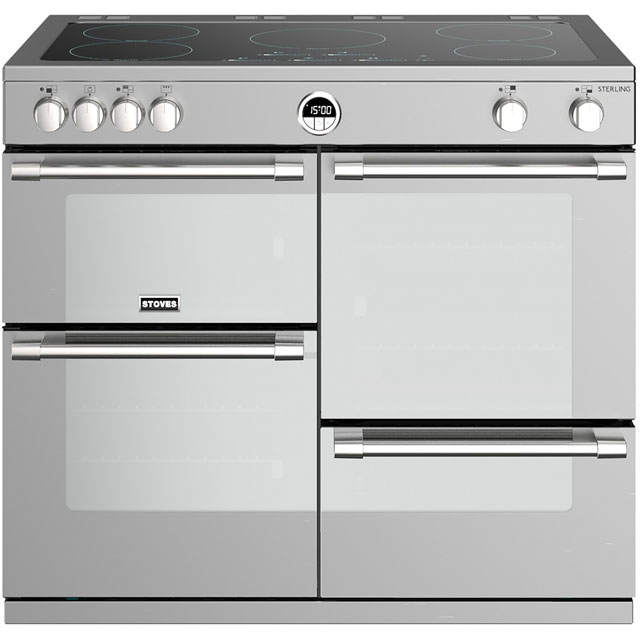 Stoves Sterling S1000EI 100cm Electric Range Cooker with Induction Hob - Stainless Steel - A/A/A Rated - Sterling S1000EI_SS - 1