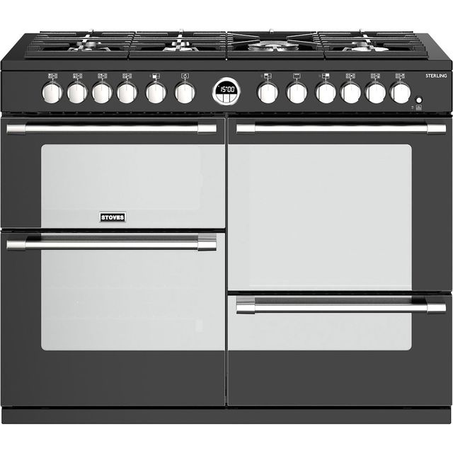 Stoves Sterling S1100DF 110cm Dual Fuel Range Cooker - Black - A/A/A Rated - Sterling S1100DF_BK - 1