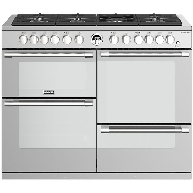 Stoves Sterling S1100DF 110cm Dual Fuel Range Cooker - Stainless Steel - A/A/A Rated - Sterling S1100DF_SS - 1