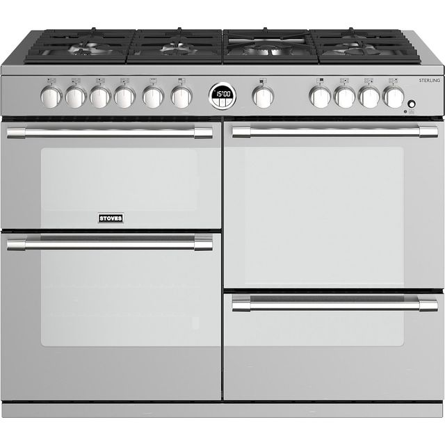 Stoves Sterling S1100G 110cm Gas Range Cooker with Electric Grill - Stainless Steel - A/A/A Rated