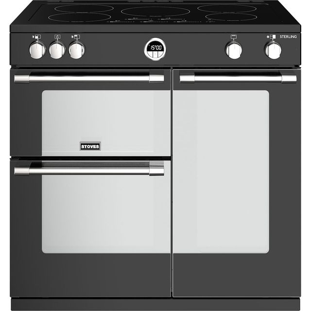 Stoves Sterling S900EI 90cm Electric Range Cooker with Induction Hob - Black - A/A/A Rated - Sterling S900EI_BK - 1
