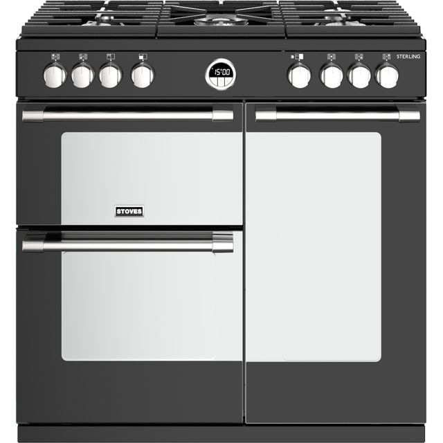 Stoves Sterling S900G 90cm Gas Range Cooker with Electric Fan Oven - Black - A/A Rated
