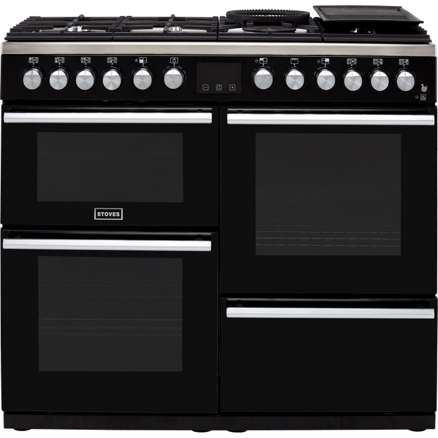 Stoves Precision DX S1000DF 100cm Dual Fuel Range Cooker - Black - A/A/A Rated