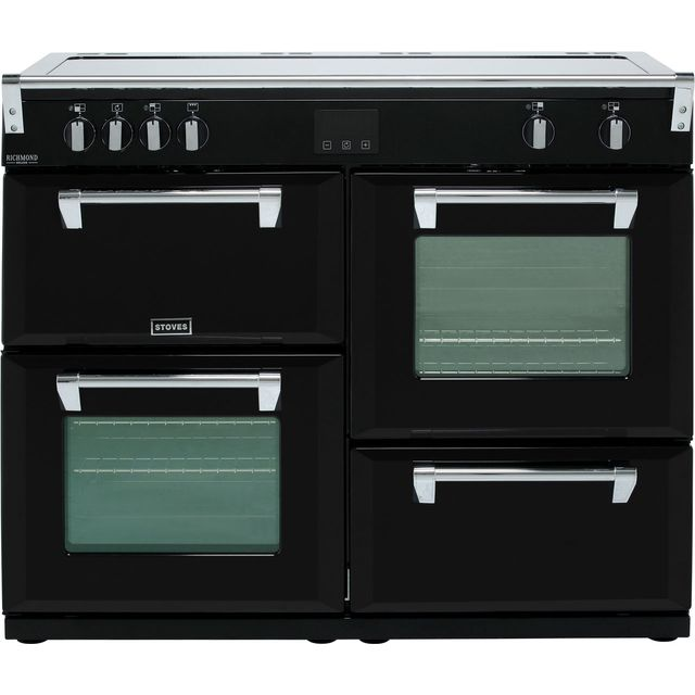 Stoves Richmond Deluxe S1100EI 110cm Electric Range Cooker with Induction Hob - Black - A/A/A Rated - Richmond Deluxe S1100EI_BK - 1