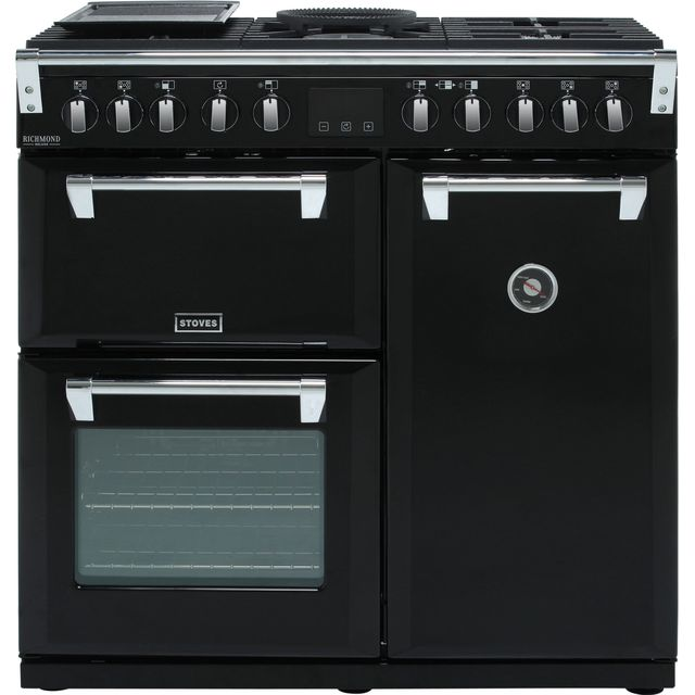 Stoves Richmond Deluxe S900DF 90cm Dual Fuel Range Cooker - Black - A/A/A Rated - Richmond Deluxe S900DF_BK - 1