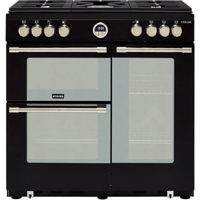 Stoves Sterling S900G 90cm Gas Range Cooker with Electric Fan Oven - Black - A/A Rated - Sterling S900G_BK - 1