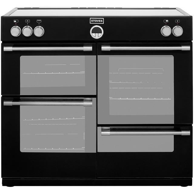Stoves Sterling STERLING1000Ei 100cm Electric Range Cooker with Induction Hob - Black - A Rated