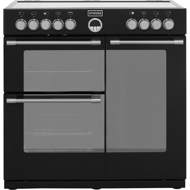 Stoves Sterling STERLING900E 90cm Electric Range Cooker with Ceramic Hob - Black - A Rated - STERLING900E_BK - 1