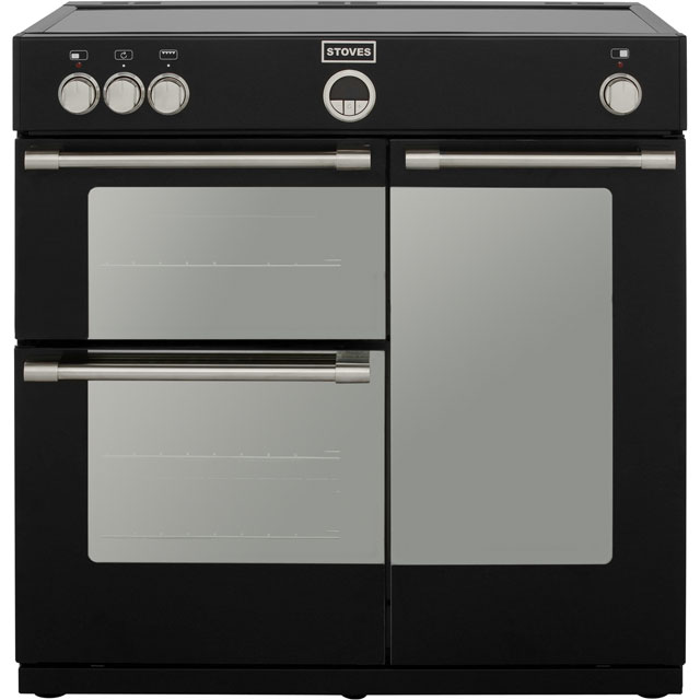 Stoves Sterling STERLING900Ei 90cm Electric Range Cooker with Induction Hob - Black - A Rated - STERLING900Ei_BK - 1