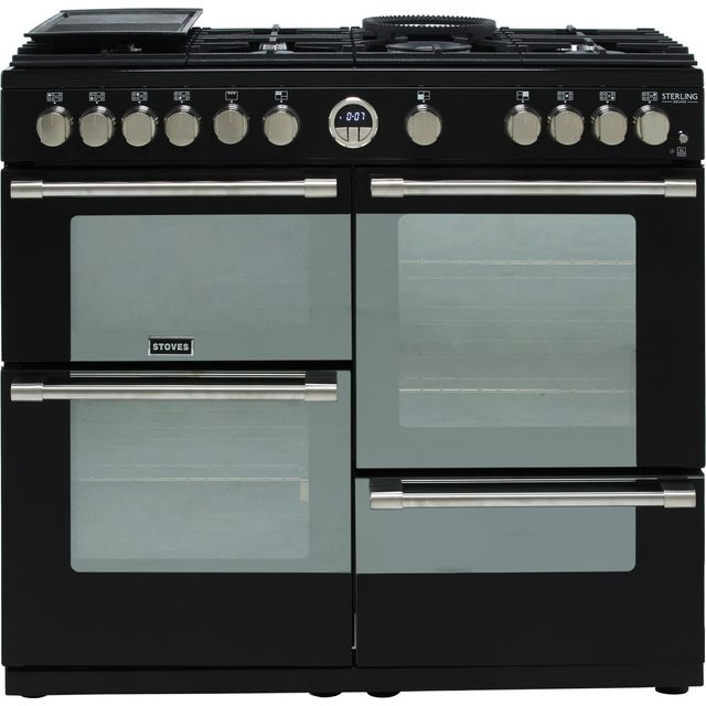 Stoves Sterling Deluxe S1000G 100cm Gas Range Cooker with Electric Grill - Black - A+/A/A Rated - Sterling Deluxe S1000G_BK - 1
