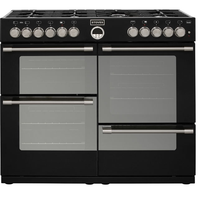 Image of 1000mm Dual Fuel Range Cooker 7 x Burners WOK Black