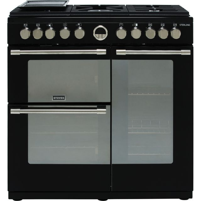 Stoves Sterling S900DF 90cm Dual Fuel Range Cooker - Black - A/A/A Rated - Sterling S900DF_BK - 1