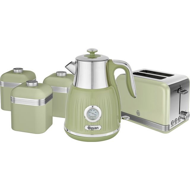 Swan Retro STRP3021GN Kettle And Toaster Set - Green
