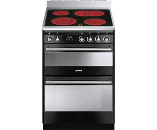 Smeg Concert SUK62CBL8 60cm Electric Cooker with Ceramic Hob - Black Gloss - A/A Rated - SUK62CBL8_BK - 1