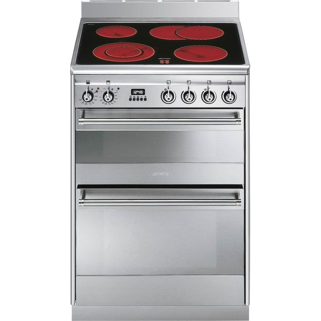 Smeg Concert SUK62CMX8 Electric Cooker with Ceramic Hob - Stainless Steel - A Rated - SUK62CMX8_SS - 1