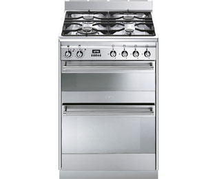 Smeg Concert SUK62MX8 60cm Dual Fuel Cooker - Stainless Steel - A Rated