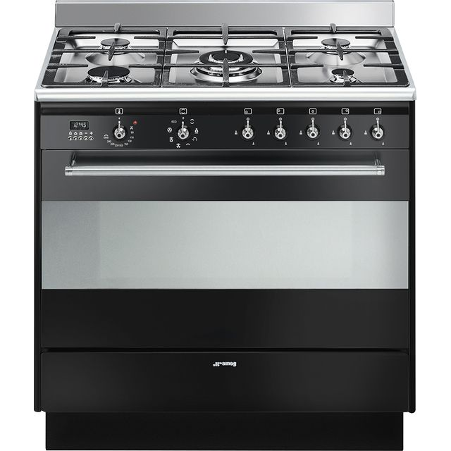 Smeg Concert 90cm Dual Fuel Range Cooker - Black - A Rated