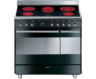Smeg Concert SUK92CBL9 90cm Electric Range Cooker with Ceramic Hob - Black - A Rated - SUK92CBL9_BK - 1