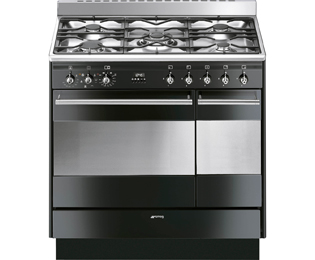 Smeg Concert SUK92MBL9 Dual Fuel Range Cooker - Black - A Rated