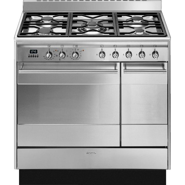 Smeg Concert SUK92MX9-1 90cm Dual Fuel Range Cooker - Stainless Steel - A/A Rated - SUK92MX9-1_SS - 1