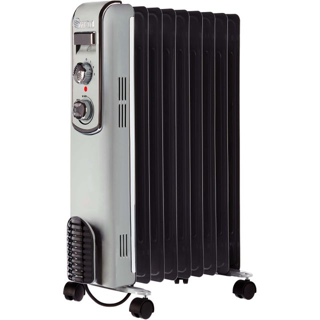 Swan Retro 9 Finned SH60010GRN Oil Filled Radiator 2000W - Grey