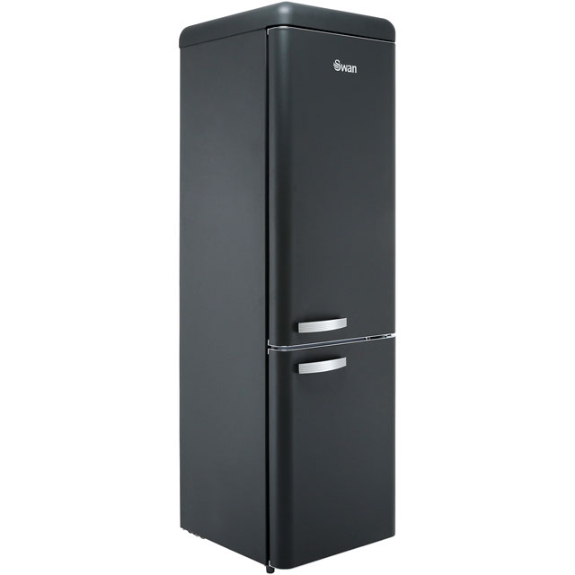 Swan Retro Slimline SR11025BN 70/30 Fridge Freezer - Black - A+ Rated - SR11025BN_BK - 1