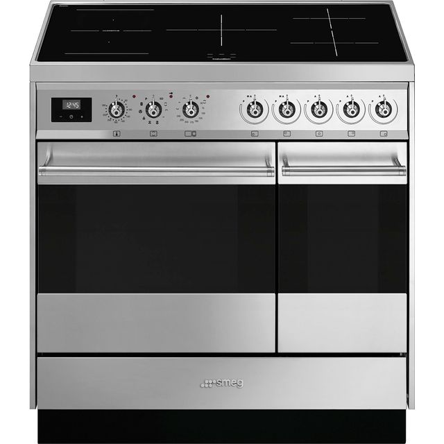 Smeg Symphony SY92IPX9 90cm Electric Range Cooker with Induction Hob - Stainless Steel - A/A Rated - SY92IPX9_SS - 1