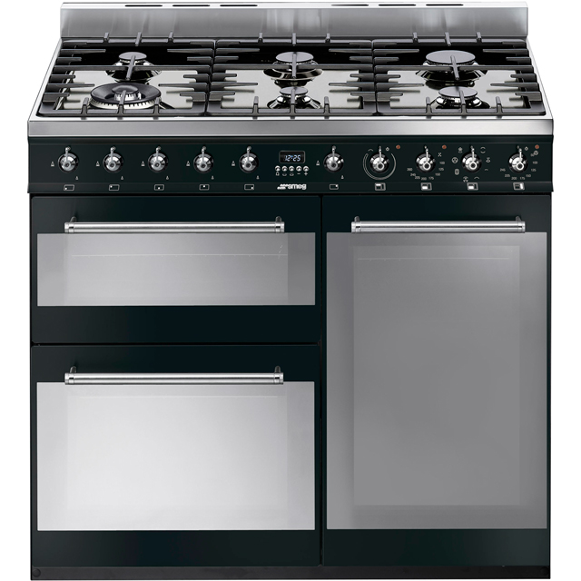 Smeg Symphony 90cm Dual Fuel Range Cooker - Black - A/B Rated