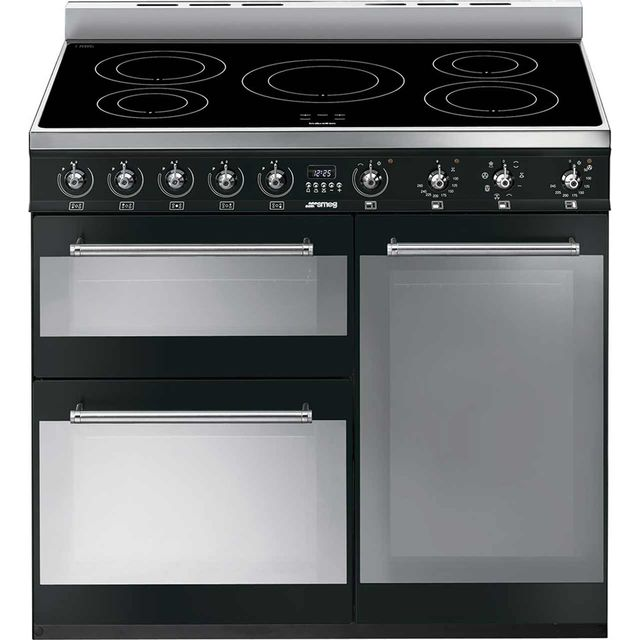 Smeg Symphony SY93iBL 90cm Electric Range Cooker with Induction Hob - Black - A/B Rated - SY93iBL_BK - 1