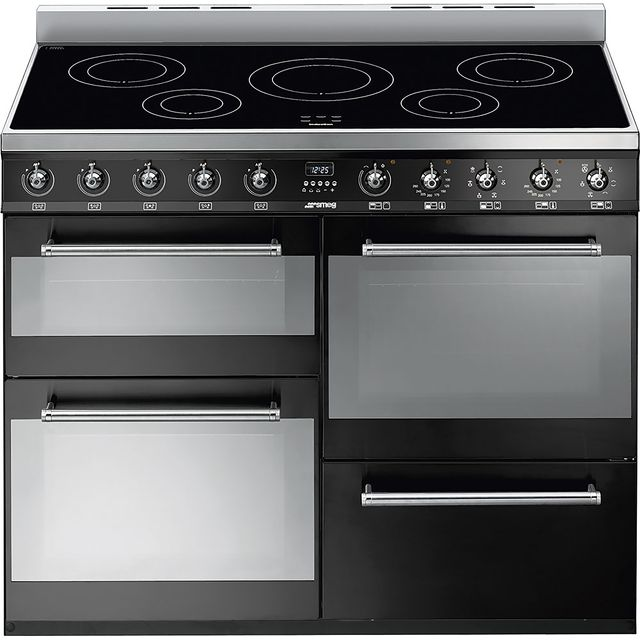 Smeg Symphony SYD4110iBL 110cm Electric Range Cooker with Induction Hob - Black - A/A Rated - SYD4110iBL_BK - 1